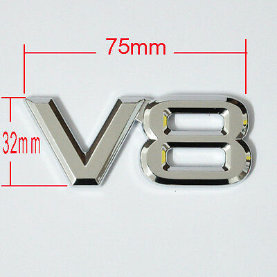 3D metal emblem V8 logo decal badge rear trunk Sticker For Toyota Land Rover VW
