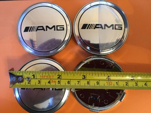 AMG REPLACEMENT CENTRE CAPS 60 MM SET OF 4 SILVER