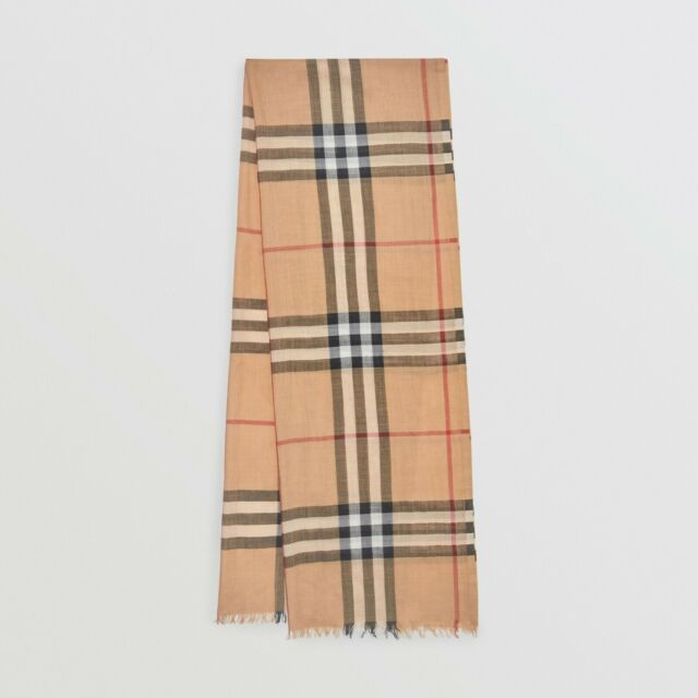 $610 Authentic BNWT BURBERRY Giant Check Gauze Wool/Silk Mens/Womens Scarf Camel