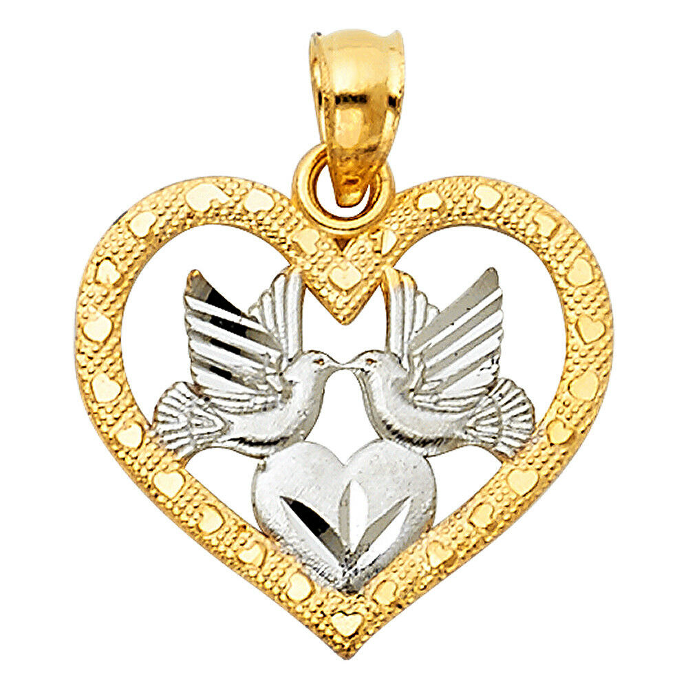 Free Chain Real 14k Two Tone gold Two Loving Bird Kiss Heart Small Charm Pendant