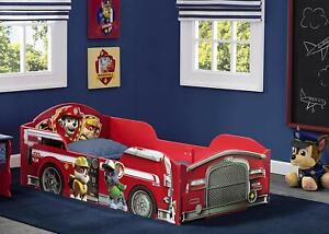 Toddler Bed Paw Patrol Firetruck Wood Safety Rail Big Kid Childrens Bedroom Boys Ebay