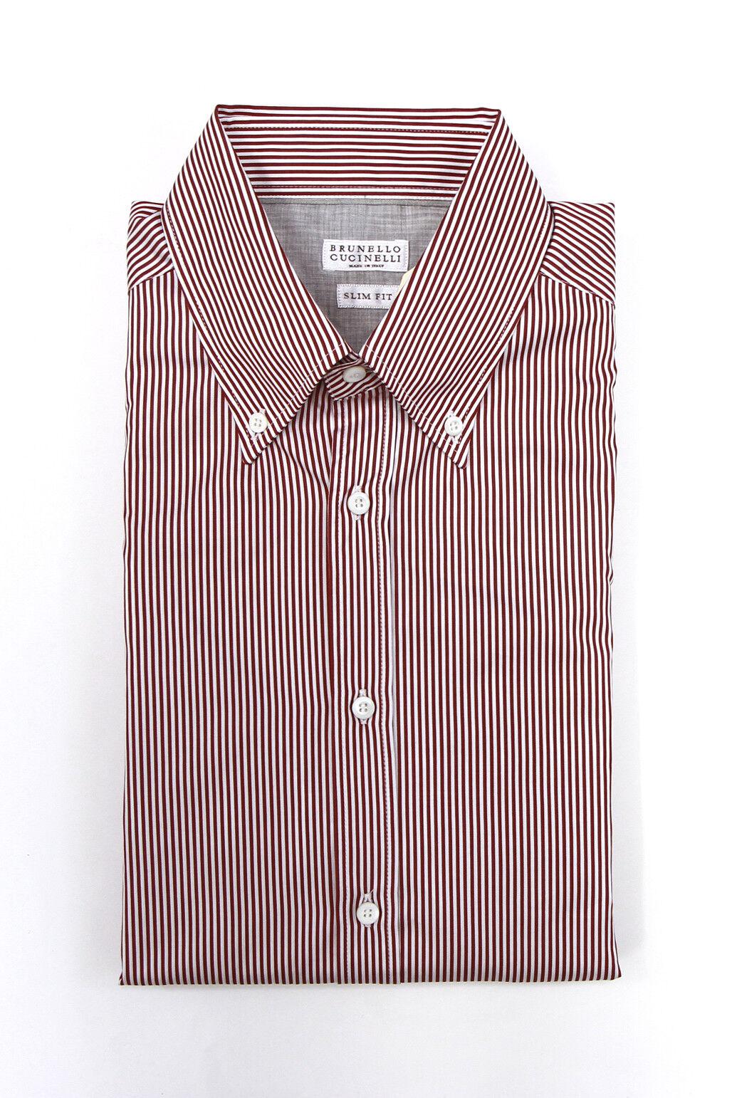 NWT Brunello Cucinelli Mens  Slim Fit  Striped Button-Down Dress Shirt Sz M A181