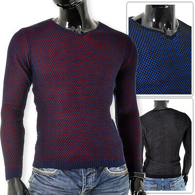 Mens Knitted Sweater Jumper D&R Fashion V-Neck Slim Fit FREE POST OUTLET L XL