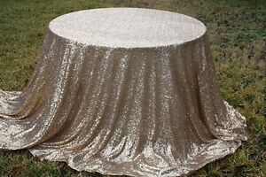 Image Is Loading 90 034 Champagne Gold Sequin Tablecloth Round