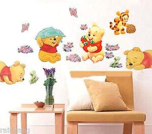 diy wall stickers winnie the pooh nursery boy kids baby room art home