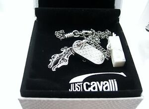Just Cavalli Halskette Designer Schmuck 2 Anhänger Drache Und Reptil Platte Jc2