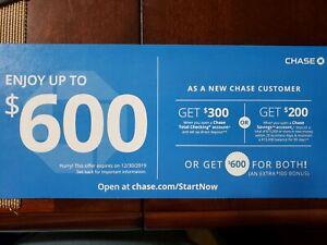 chase checking account 600 bonus