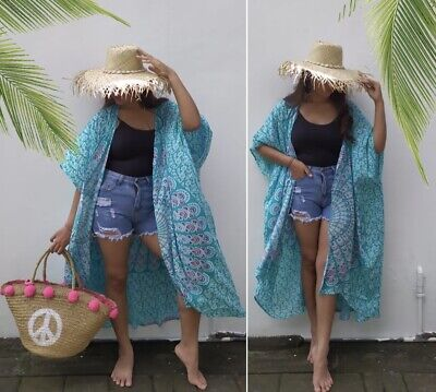 Boho Hippie Gypsy Stunning Holiday Jacket Mandala Print Tosca Green SC262 OSFA