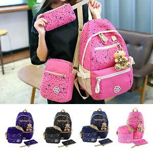 Image is loading 3-Fashion-Women-Girls-Travel-Canvas-Rucksack-Backpack- ba4b2d229b