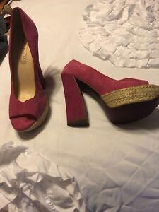 Boutique9-034-Btalesandra-034-Open-Toe-High-Heel-Shoes-Black-Red-Leopard-Print-sz-8-5M