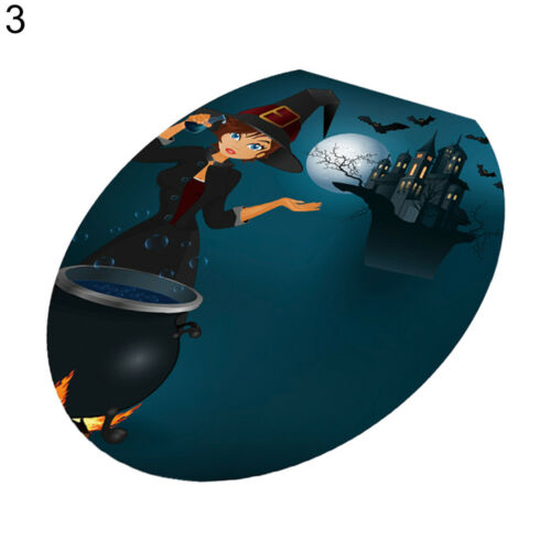 HALLOWEEN PUMPKIN TOILET SEAT LID WALL STICKER DECAL PARTY BATHROOM DECOR FADDIS