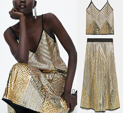 Zara SS19 Premium Limited Edition COORD SET Golden Sequin Midi Skirt AND Top S M