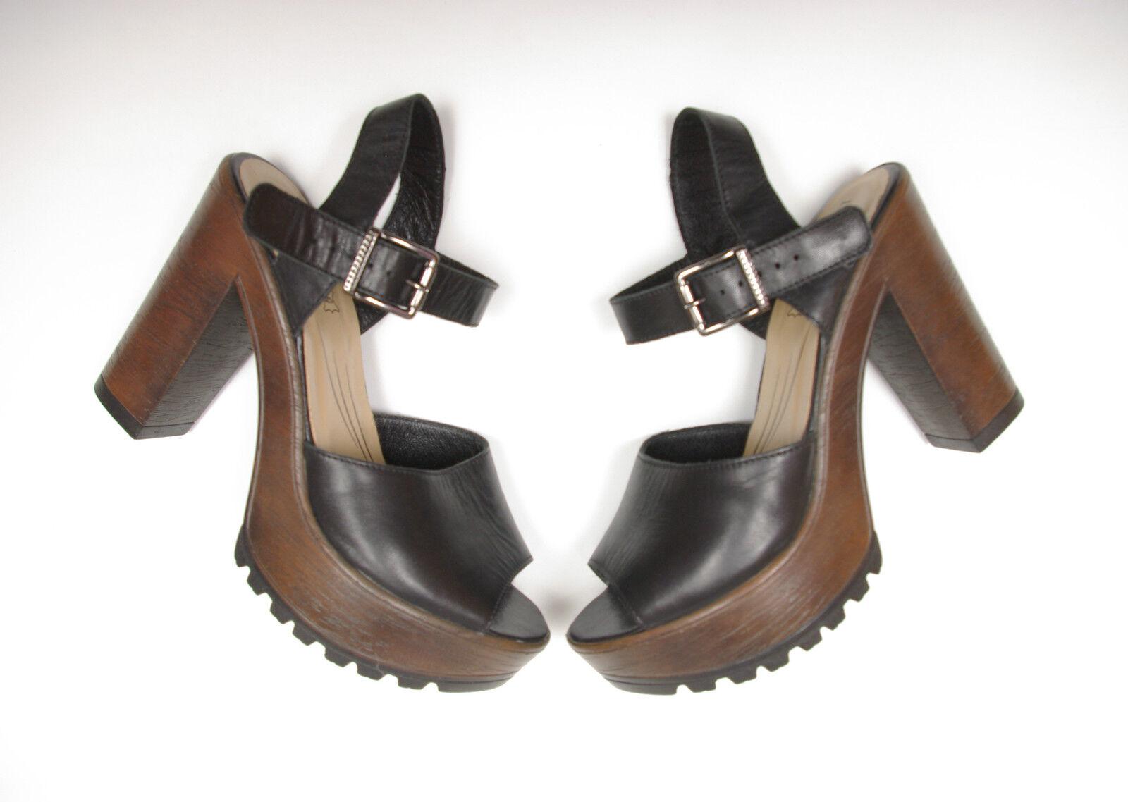 P671 55 Lasocki Leather Black Hills Sandals size 38 UK 5