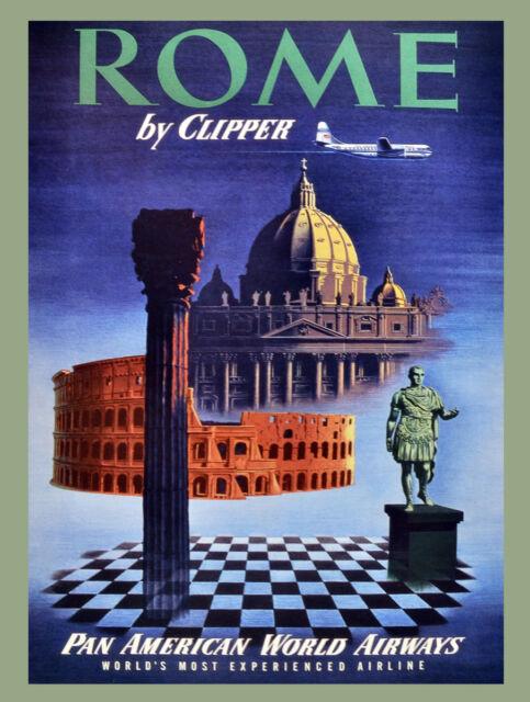 Aviation Travel POSTER.Stylish Graphics.ROME Italy.Home interior Art Decor.1378