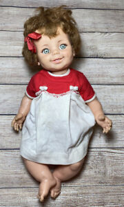 16-034-Giggles-VTG-Baby-Doll-Ideal-1968-Moving-Eyes-Plastic-Head-White-Red-Dress