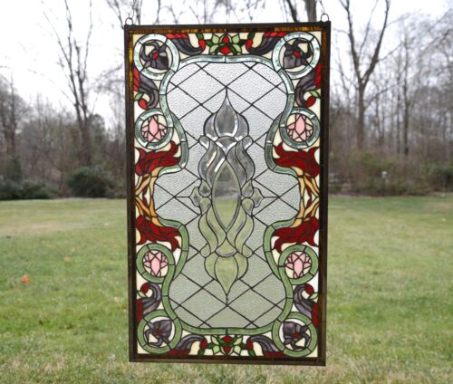 "20.75/"" x 34.75/"" Stunning Jeweled Handcrafted stained glass panel"