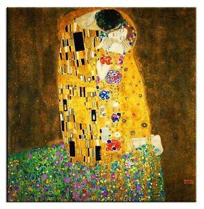 Gustav-Klimt-Der-Kuss-Bild-Leinwand-Kunstdruck-Grosse-100x100cm-G94250