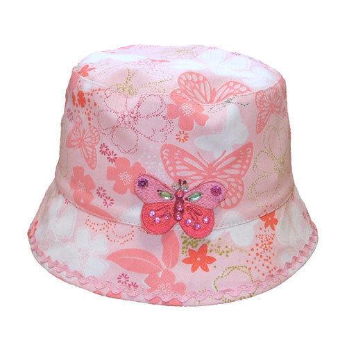Cappello Cespuglio Ragazze Floreale con Farfalla 100% Cotone Estate Cappello NEW AGE 4-6 età 7-10