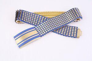 DG412-Schuppenguertel-Guertel-Metall-gold-blau-elastisch-70-100-cm-Vintage