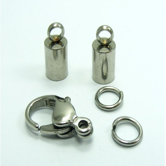 High Quality STAINLESS STEEL Lobster CLASP with END CAPS Kit for 2mm ~5mm Cord