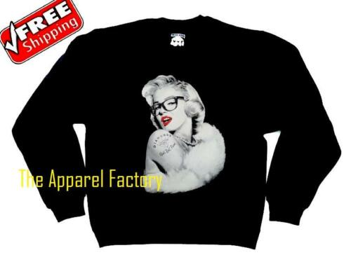 NEW Men/'s MARILYN MONROE Nerd Sweatshirt Sweater Tattoo Glasses yolo classy
