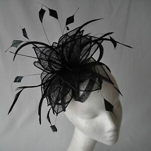 Black-Sinamay-and-Feather-Fascinator-for-Weddings-Races-and-Proms