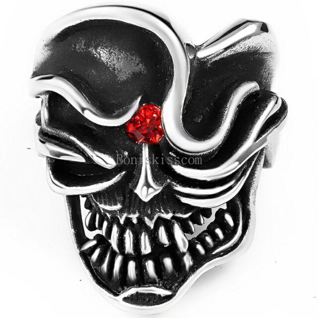 Silver Black Men's Gothic Punk Stainless Steel Band Biker Pirate Skull Ring