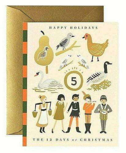Fusil Paper Co feuille d/'or Vacances Cartes de vœux Entièrement neuf sous emballage Designer Cadeaux de Noël