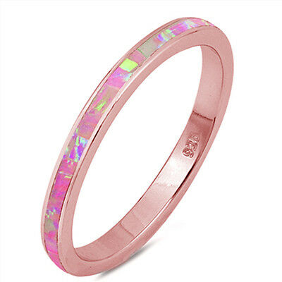 Oxford Diamond Co Rose Gold Plated Pink Opal Band .925 Sterling Silver Ring Sizes 4-13