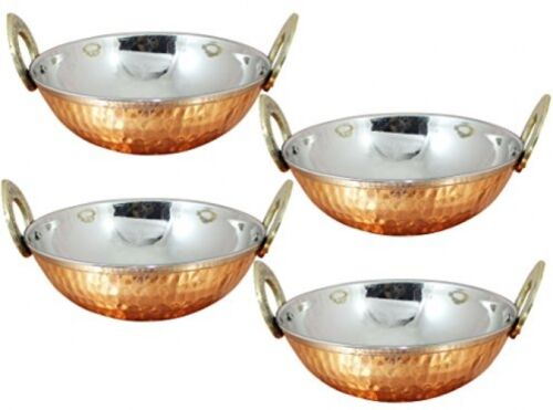 4 Karahi Pan Bowls Stainless Hammered Copper Indian Food,Kitchen Serving Curry