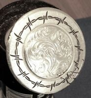 Montana Silver Barbed Wire 1.5 Silver Floral Concho Horse Saddle-free Ship