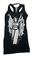 Rock Rebel Lily With Wings Black T Shirt Tunic Dress Cut Out Back Size Medium