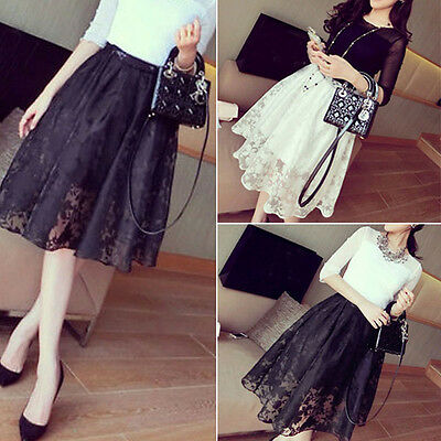 Females Double Layer Party Dress Flower Lace Maxi Long Elastic Waist Skirt Lady