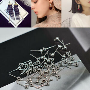 50-x-Ear-Pin-Studs-Ball-Post-with-Loop-Earring-Making-DIY-Craft-White-K