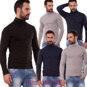 Maglia-uomo-pullover-collo-alto-lupetto-maglione-maniche-lunghe-basic-nuovo-902