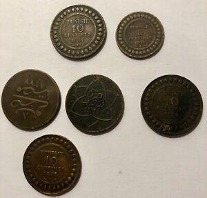 Paket 6 Münzen Tunesien, Marokko, Egipte (N2785)