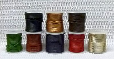 ALL COLORS Colored Leather Cord Spool 1.5mm 2mm Black Brown Silver YOU CHOOSE
