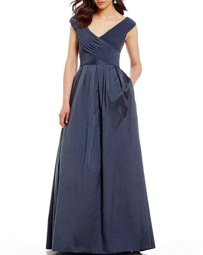 NWT ADRIANNA PAPELL Sz8 TAFFETA FIT & FLARE SLEEVELESS GOWN DRESS NAVY blueE