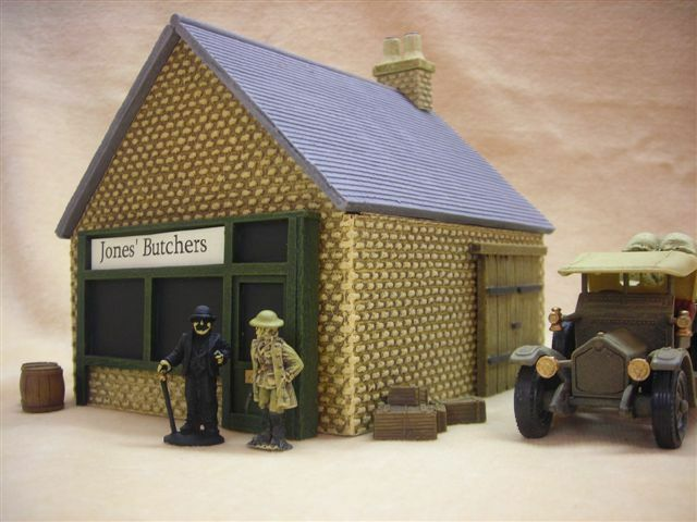28MM PMC GAMES BT15 (PAINTED) SINGLE STOREY SHOP SLATE ROOF