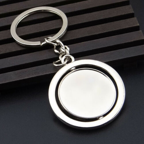 Leightweight Silver Plated Round Blank 360 Rotating Metal Tag Car Keychain 8C