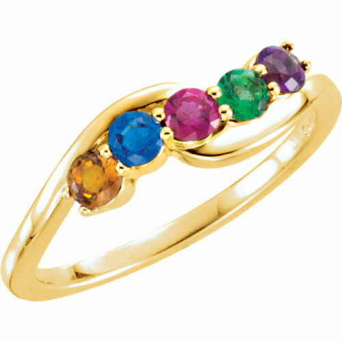 10K or 14K Solid Gold Mother/'s Day Ring 1 to 5 Birthstones Family Jewelry Rings