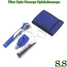 New Fiber Otoscope Ophthalmoscope Examination Led Diagnostic Ent Set Kit Blue