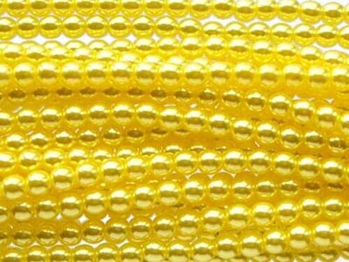 4mm string of 110 beads LEMON YELLOW Czech glass round pearl beads