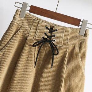 0900b58c7ffe Vintage Femme Pantalon en Velours Côtelé Taille Haute en Vrac Jambe ...