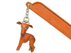Greyhound Leather dog Charm Bookmarker *VANCA* Made in Japan #61781