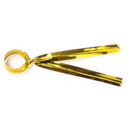 X100 gold twist Ties Sac Fasteners Fermeture 10cm Métallique