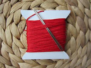 Diligent Très Forte 3 / 4 Mm D'épaisseur Fils à Coudre Rouge Pour Coutures Main + 2 Aiguilles Craft-afficher Le Titre D'origine