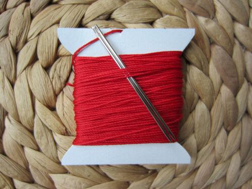 2 Agujas Craft Muy Fuerte 3//4mm Grueso Hilo de coser Rojo Para Costura A Mano