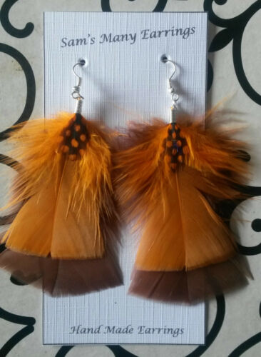 Natural Feather Fashion Earrings  925 Silver Hooks Available Hand Made