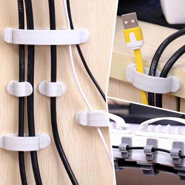 10x Cable Wire Cord Organizer Drop Clip Desk Tidy Holder Management Line FixerNL